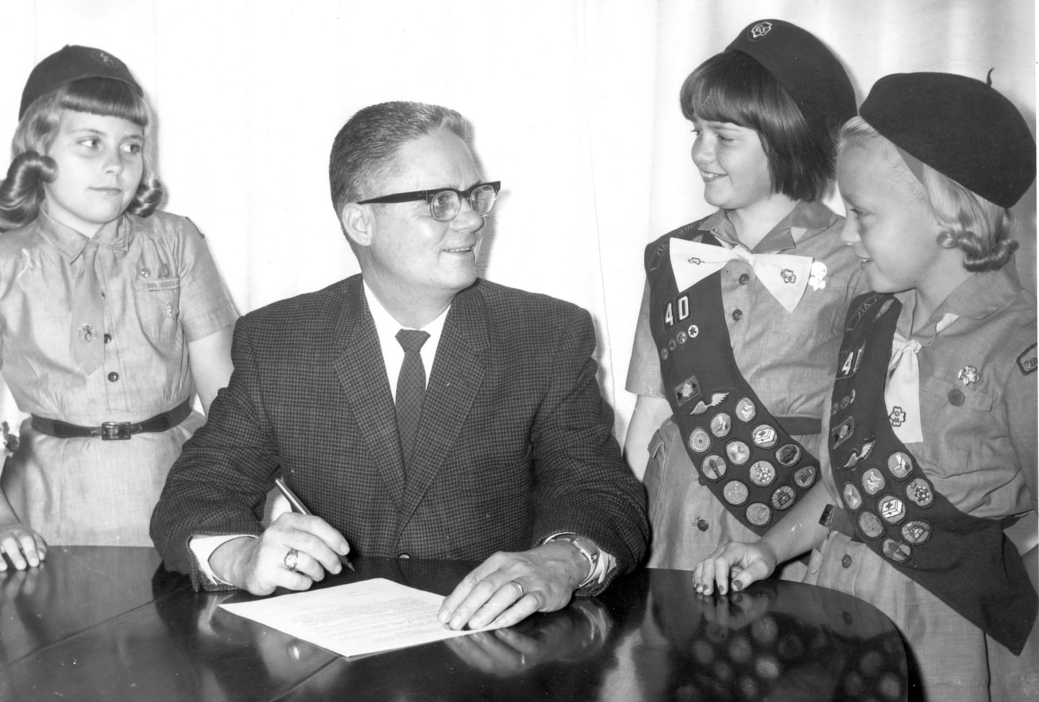 Does anyone recognize these cute Girl Scouts with Mayor Creighton Gilchrist, 1964 to 1966?