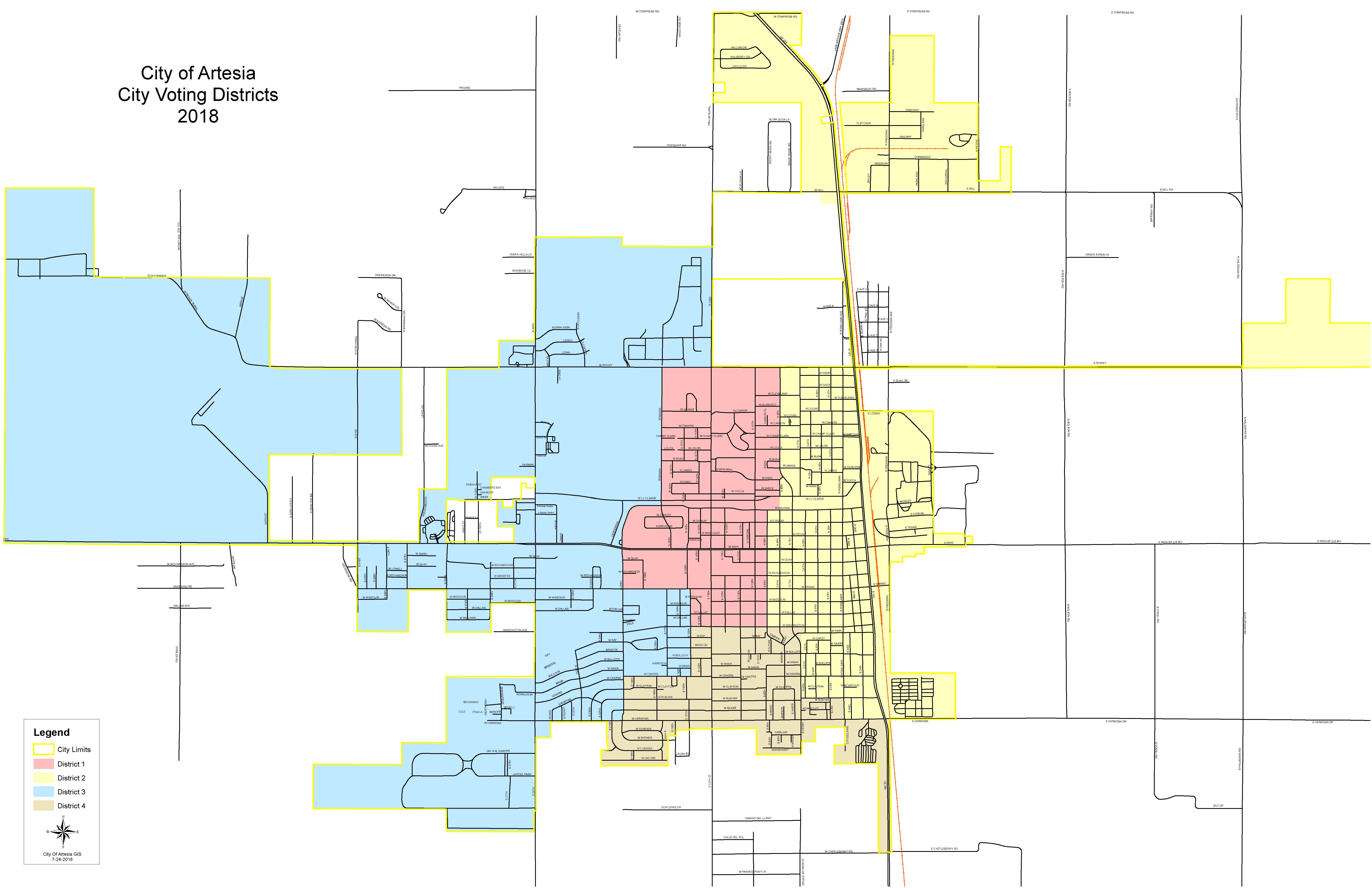 Artesia Voting Districts Map Opens in new window